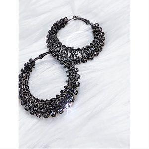 Gunmetal studded wheel hoop earrings NWT